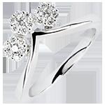Bague Fraicheur - Boutures - or blanc 9 carats et diamants