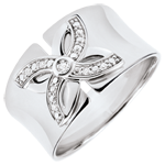 bijou or Bague Fraicheur - Lys d'Été - or blanc et diamants