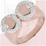 ventes en ligne Bague Fraicheur - Pomme d'amour - or blanc et or rose 18 carats
