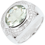 vente on line Bague Horus Améthyste verte - Argent, diamants et pierres fines