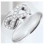 cadeau Bague Infini - or blanc et diamants - 9 carats