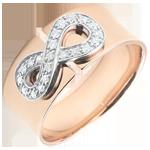 bijouteries Bague Infini - or rose et diamants - 9 carats