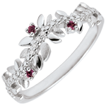cadeau femmes Bague Jardin Enchanté - Feuillage Royal - or blanc, diamants et rhodolites - 18 carats