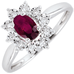 joaillerie Bague Marguerite Illusion - rubis - or blanc 9 carats