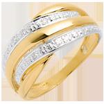 ventes Bague Naja pavée - 4 diamants - or blanc et or jaune 18 carats
