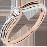 bijou or Bague Nid Précieux - Claire - or blanc, or rose - diamant 0.11 carat - 18 carats