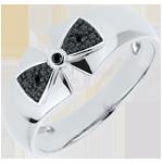 cadeaux femmes Bague Noeud Amélia or blanc 18 carats et diamants noirs