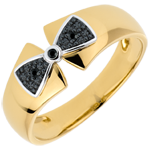 femme Bague Noeud Amélia or jaune et diamants noirs