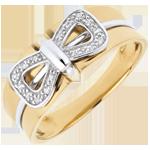 cadeaux Bague Noeud Corset - or blanc et or jaune 18 carats