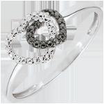 Bague or blanc 9 carats diamants blancs et diamants noirs - Coeurs Complices