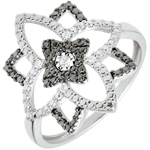 Bague or blanc 9 carats et diamants noirs Clair Obscur - Fleur de Lune