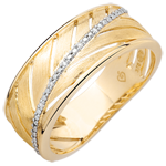 Bague Palme - or jaune brossé 9 carats et diamants