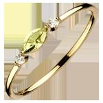 Bague Regard d'Orient - petit modèle - péridot et diamants - or jaune 9 carats