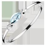 cadeau Bague Regard d'Orient - petit modèle - topaze bleue et diamants - or blanc 9 carats