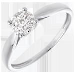 cadeaux femmes Bague roseau or blanc sphère pavée - 7 diamants - 0.12 carat