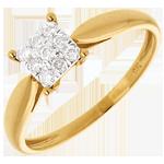 achat Bague roseau or jaune dé pavée - 9 diamants