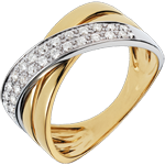 Bague Saturne large - 26 diamants 0.26 carat - or blanc et or jaune 18 carats