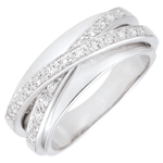 bijoux or Bague Saturne Miroir - or blanc - 23 diamants - 9 carats