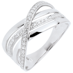 cadeau femme Bague Saturne Quadri - or blanc - diamants - 18 carats