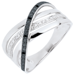 bijou Bague Saturne Quadri - or blanc - diamants noirs et blancs - 9 carats