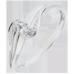 bijou or Bague Solitaire accompagné Nid Précieux - Sophia - or blanc - diamant 0.013 carat - 9 carats