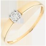 Bague Solitaire Amour d'une vie - diamant 0.05 carat - or jaune 9 carats