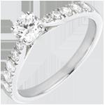 Bague Solitaire Belle Chérie or blanc 18 carats et diamants - diamant 0.4 carat
