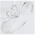 Bague Solitaire Coeur D'Amour - or blanc 18 carats
