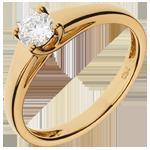 Bague solitaire Diadème or jaune 18 carats - diamant 0.34 carat