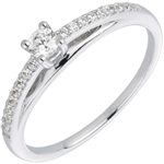 cadeau femme Bague solitaire diamant Avalon or blanc 18 carats