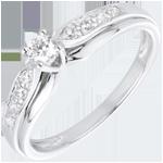 Bague Solitaire Diamant Salma or blanc 18 carats - diamant 0.13 carat