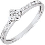 vente on line Bague Solitaire Éclosion - Pivoine - 0.03 carat - or blanc 9 carats