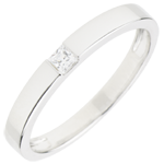 Bague Solitaire Epure - diamant Princesse 0.08 carat - or blanc 18 carats