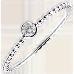 cadeau Bague Solitaire Fleur de Sel - un anneau - or blanc 18 carats - 0.08 carat
