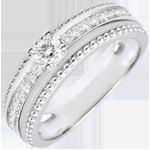femme Bague Solitaire - Fleur de Sel - deux anneaux - 0.18 carat - or blanc 18 carats