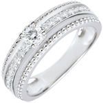 mariage Bague Solitaire - Fleur de Sel - deux anneaux - 0.18 carat