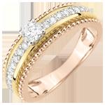 cadeau femme Bague Solitaire - Fleur de Sel - deux anneaux - 3 ors - 0.378 carat - 18 carats