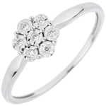 Bague Solitaire Fraicheur - Fleur de Flocon - 7 diamants - or blanc 18 carats