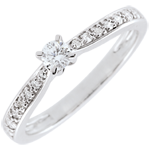 mariage Bague solitaire Garlane 4 griffes - 0.10 carat - or blanc 18 carats