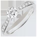 bijou Bague solitaire Garlane 8 griffes - diamant 0.4 carat - or blanc 9 carats