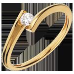 Bague Solitaire Nid Précieux - Apostrophe - or jaune 18 carats - diamant 0.13 carat