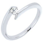Bague solitaire Princesse étoile or blanc 18 carats - diamant 0.15 carat
