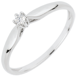 mariages Bague Solitaire Roseau 6 griffes - or blanc 18 carats