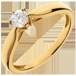 joaillerie Bague Solitaire Roseau 6 griffes - or jaune 18 carats - 0.3 carat