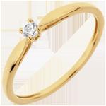Bague Solitaire Roseau - diamant 0.07 carat - or jaune 18 carats