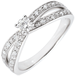 bijoux or Bague Solitaire Saturne Duo double diamant - or blanc 18 carats - 0.15 carat