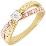 Bague Solitaire Saturne Duo double diamant - or jaune et or rose 9 carats - 0.15 carat