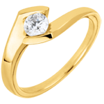Bague solitaire Soir d'été or jaune 9 carats - 0.32 carats