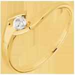 Bague solitaire Soir d'été or jaune 9 carats - diamant 0.12 carat