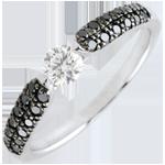 Bague solitaire Triomphale - diamants noirs - 0.25 carat - or blanc 18 carats